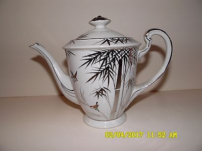 Vintage Porcelain Tea Coffee Pot FUJJIYAMA JAPAN Platinum Trim, Bamboo and Birds