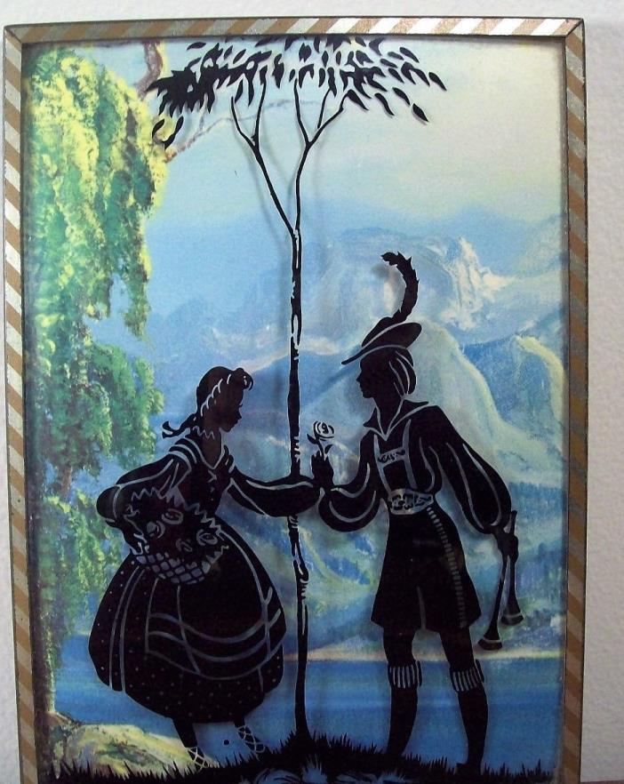 Vintage Bubble Glass Reverse Painted Silhouette Romantic Couple 7 X 5    #1