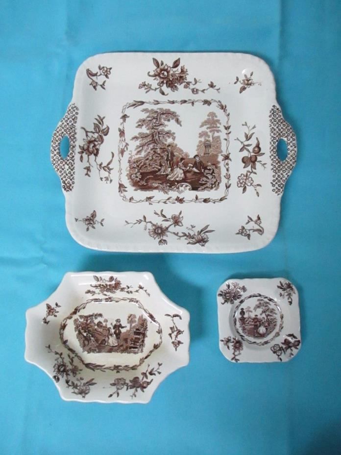 Mason's Patent Ironstone Brown Watteau Square Serving Plate +Ashtray+Small Bowl