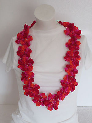 Hand Crochet Hawaiian Yarn Lei~Prefect for Any Special Occasions~Sangria