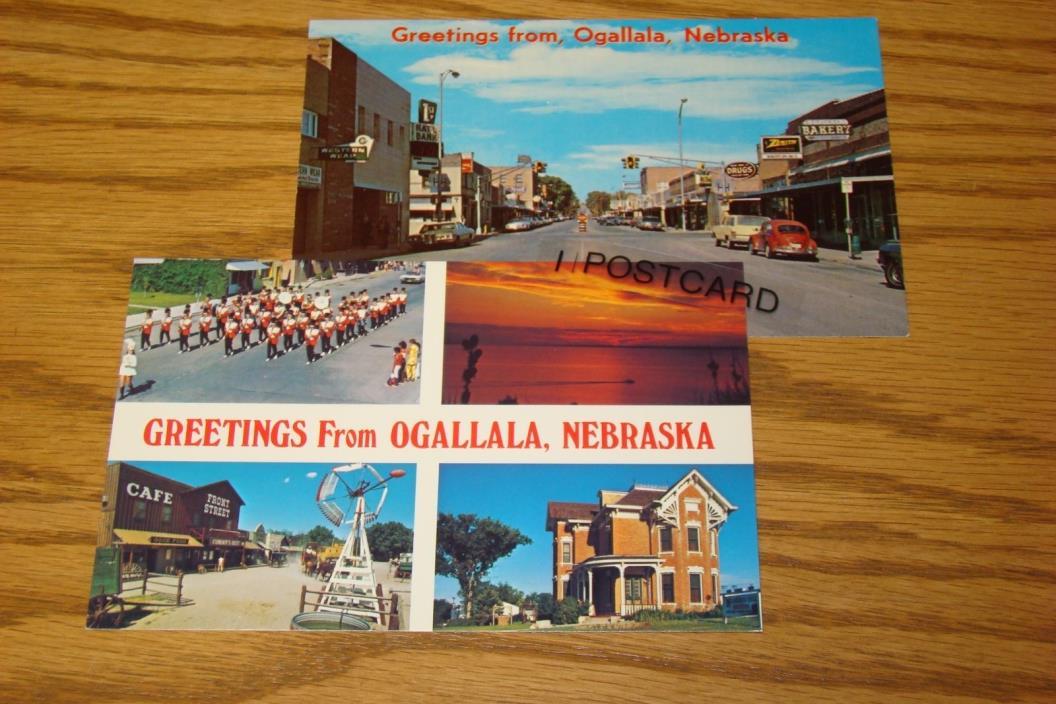Two OGALLALA, Nebraska NE 1960s - RPPC