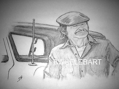 MR. MAJESTYK  ORIGINAL PENCIL DRAWING CHARLES BRONSON ACTION MOVIES FORD PICK-UP