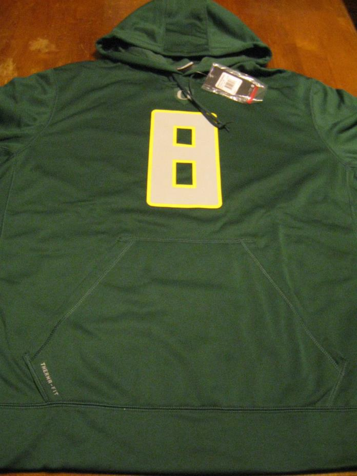 Oregon Ducks Hoodie #8, Green, 2XL, Therma-Fit, Marcus Mariota