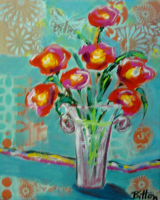 ORIGINAL ART TRENDY FAUVE STYLE 8X10, RED FLOWERS IN A VASE, by Artist R. Bitton