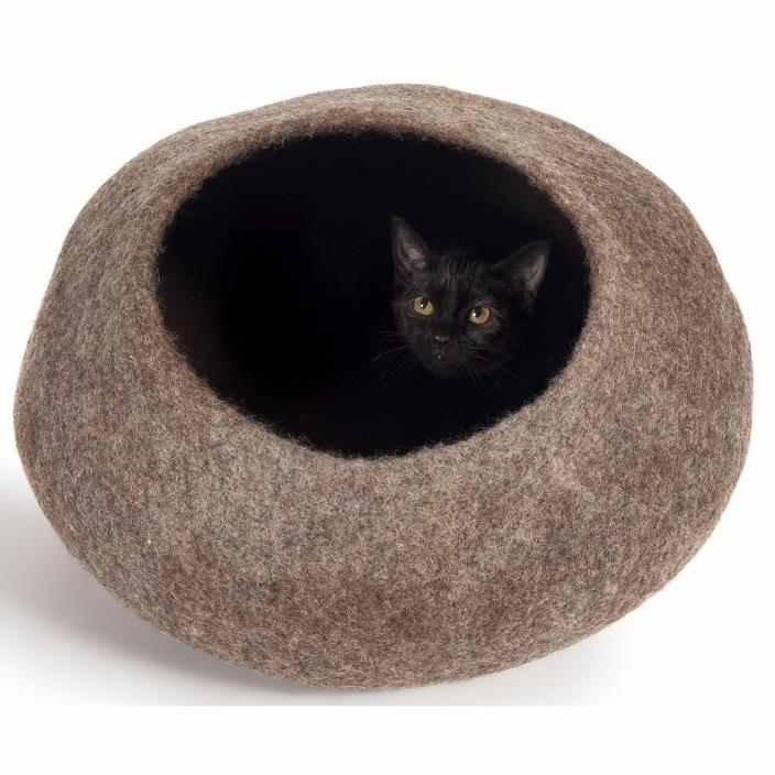 Self Warming Cat Bed And Furniture Round Enclosed Cave Large Felted Natural Soft