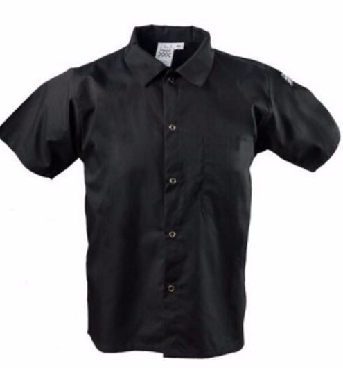 NWT Chef Revival Black Short Sleeve Collared Cook Shirt Size S Small CS006BK