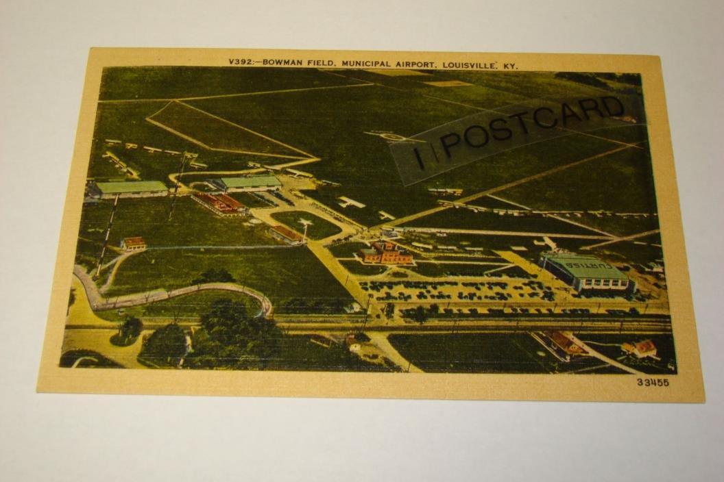 Vintage BOWMAN FIELD Airport, Louisville, Kentucky KY - Linen