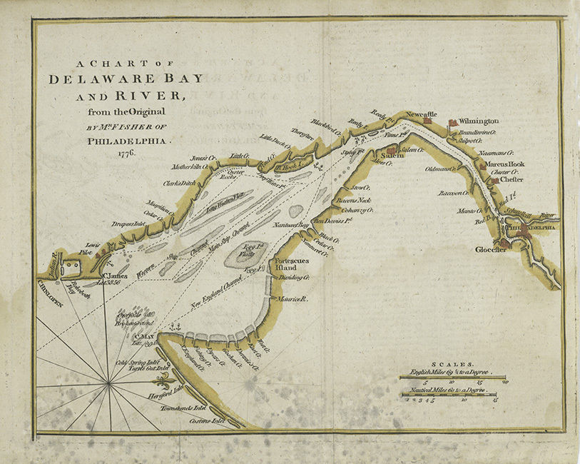 1776 Chart of the Delaware Bay and River CANVAS PRINT