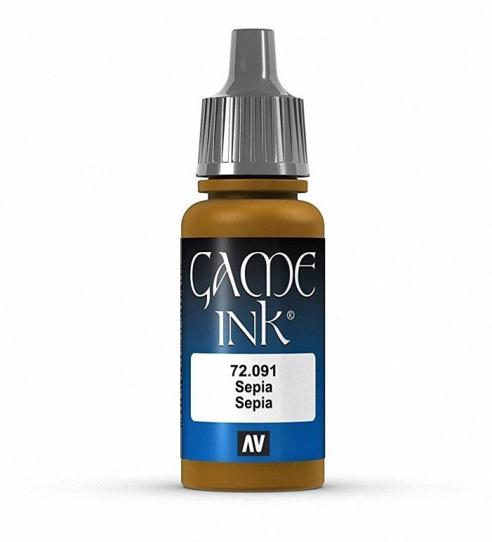Brand New Vallejo Game Ink Paint 17ml Acrylic - Sepia 72.091