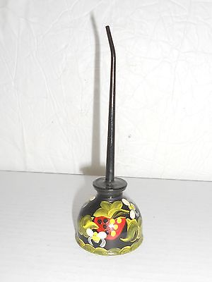 Vintage Tole-Style Painted Thumb Pump Oil Can Fruit Strawberries Signed 5.5