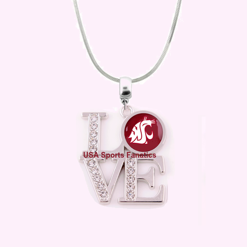 NCAA Washington ST Cougars 925 Sterling Silver Team Love Necklace W/Rhinestones