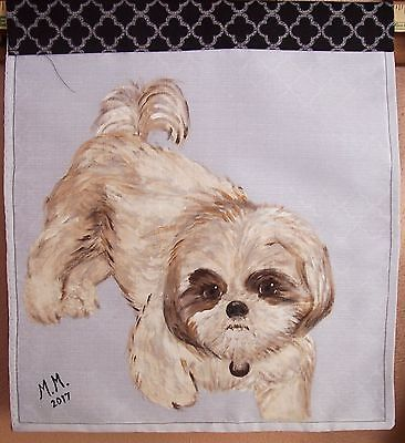 Small Dog lovers, Tan and white  Shih-tzu doggie, Hand painted dog wall hanging