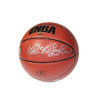 Larry Bird And Magic Johnson Dual Signed I/O Basketball Signed In Silver