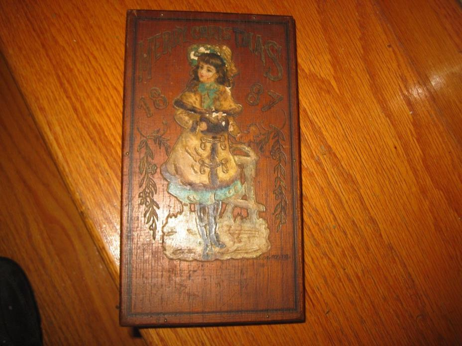 1887-1888 MERRY CHRISTMAS CIGAR PYROGRAPHY BOX WITH CHINESE PLAQUE BEAUTIFUL