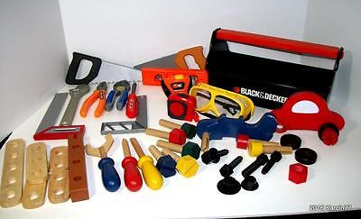 Black & Decker TOY Tool Kit Box + 16 Tools & 28 Workbench Accessories ExCond