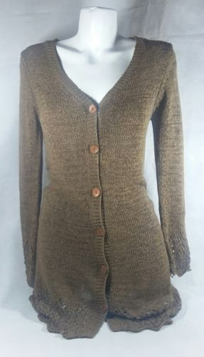 BCBG Maxazria Brown Knitted button up longsleeve V neck sweater Bin 3#1