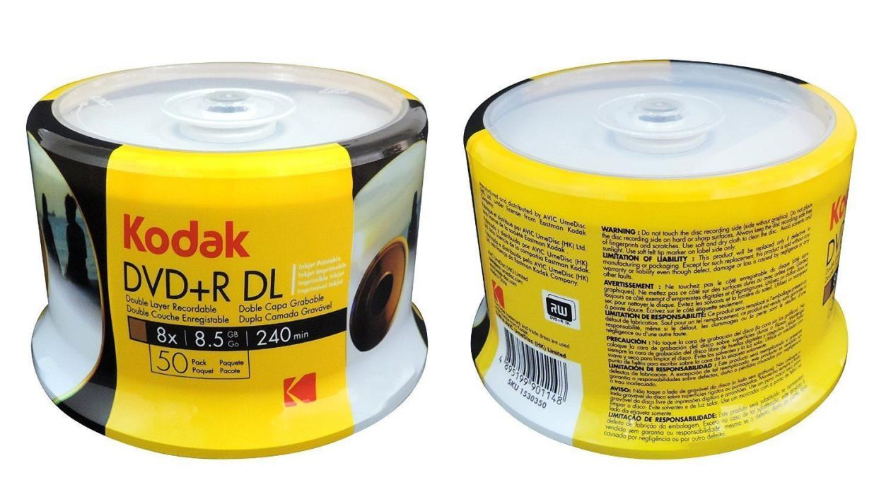 100 KODAK 8X Blank DVD+R DL Dual Double Layer White Inkjet Printable 8.5 GB Disc