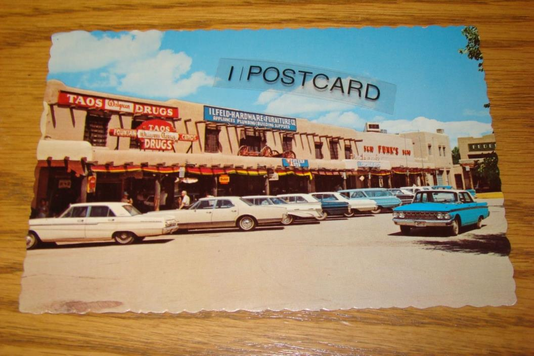 West Side of Plaza TAOS, New Mexico, NM 1960s - RPPC