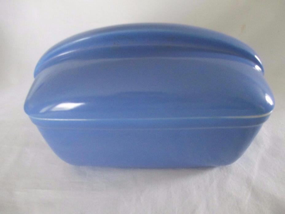 Vintage WESTINGHOUSE Hall China Blue Refrigerator Bowl w/Lid -  Art Deco  #5074