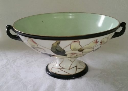 ANTIQUE HAND PAINTED PUNCH BOWL / PEDESTAL HAND PAINTED, SIGNED BY ARTIST