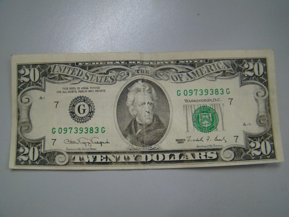 OLD SMALL FACE $20 Bill FEDERAL RESERVE NOTE 1990 - ERROR! OFF CENTER - CRISP