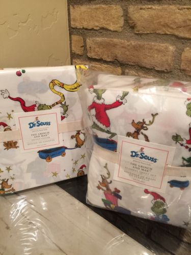 NEW POTTERY BARN KIDS DR SEUSS GRINCH AND MAX TWIN DUVET COVER AND SHEET SET