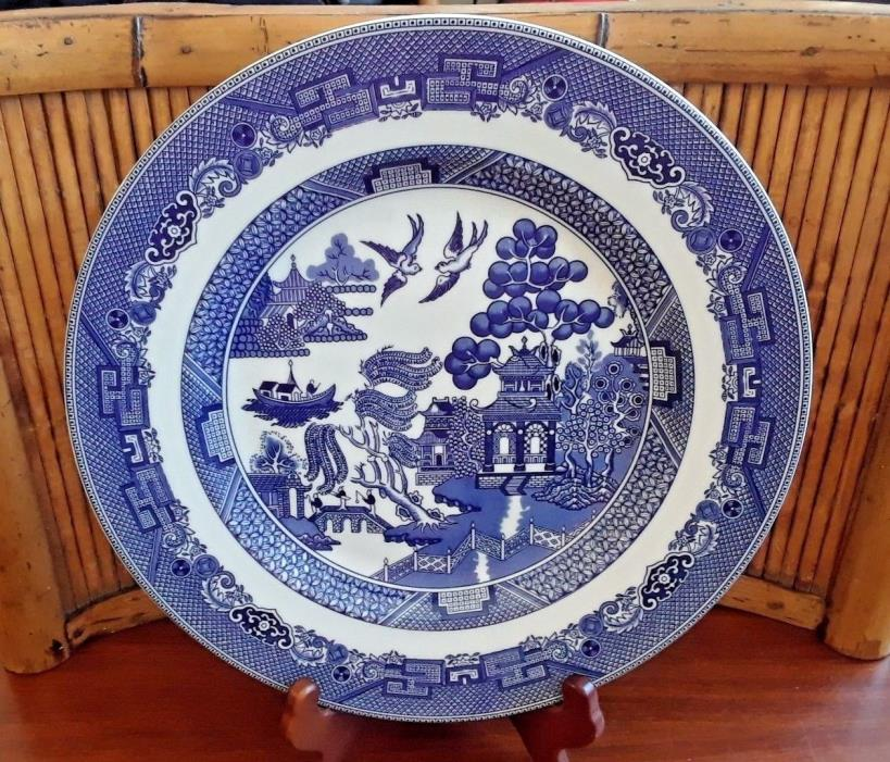 1983 Johnson Brothers WILLOW BLUE pattern Chop Plate 11