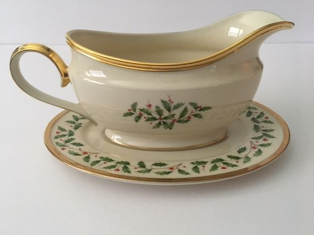 Lenox Holiday (DIMENSION) Gravy Boat & Underplate w/ Gold Trim