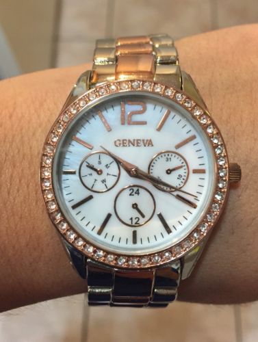 Geneva Silver And Rose Colored Fashion Chrono Style Women's Watch