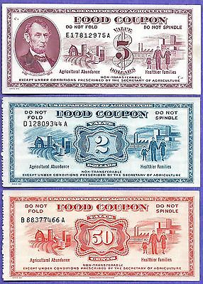 FOOD STAMP COUPON USDA 1973 $5.00  &1967 $2.00 1967 $0.50  THREE COUPONS