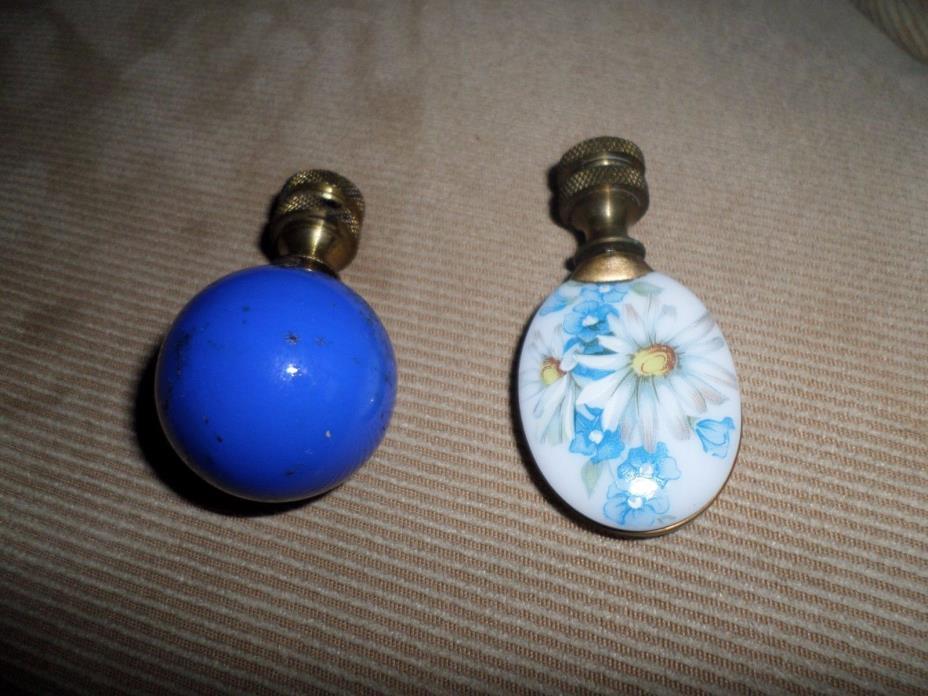 TWO Vintage Lamp Finials - Porcelain