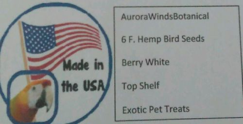 6 F. Hemp Bird Seeds Berry White Pet Treats