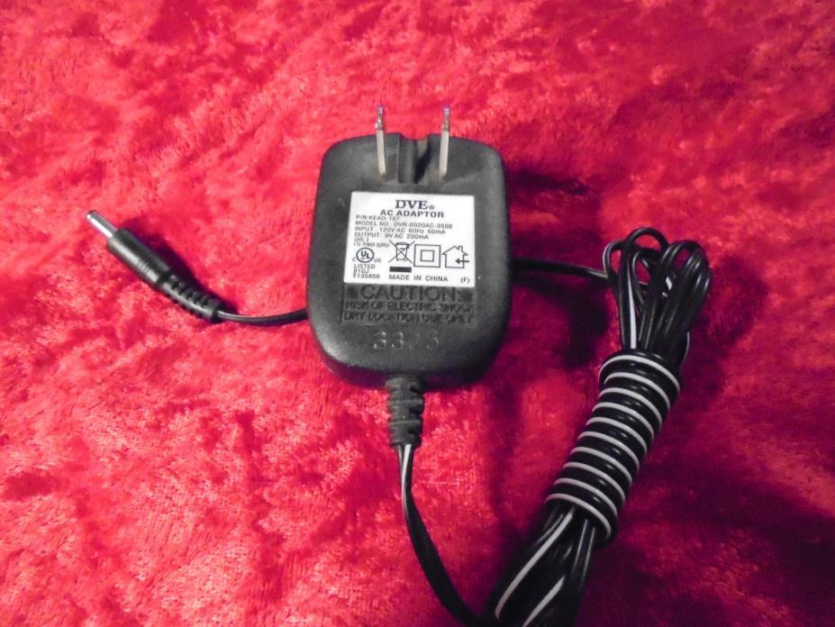 DVE DVR-0920AC-3508 AC ADAPTOR INPUT:120v OUTPUT: 9V 200mA