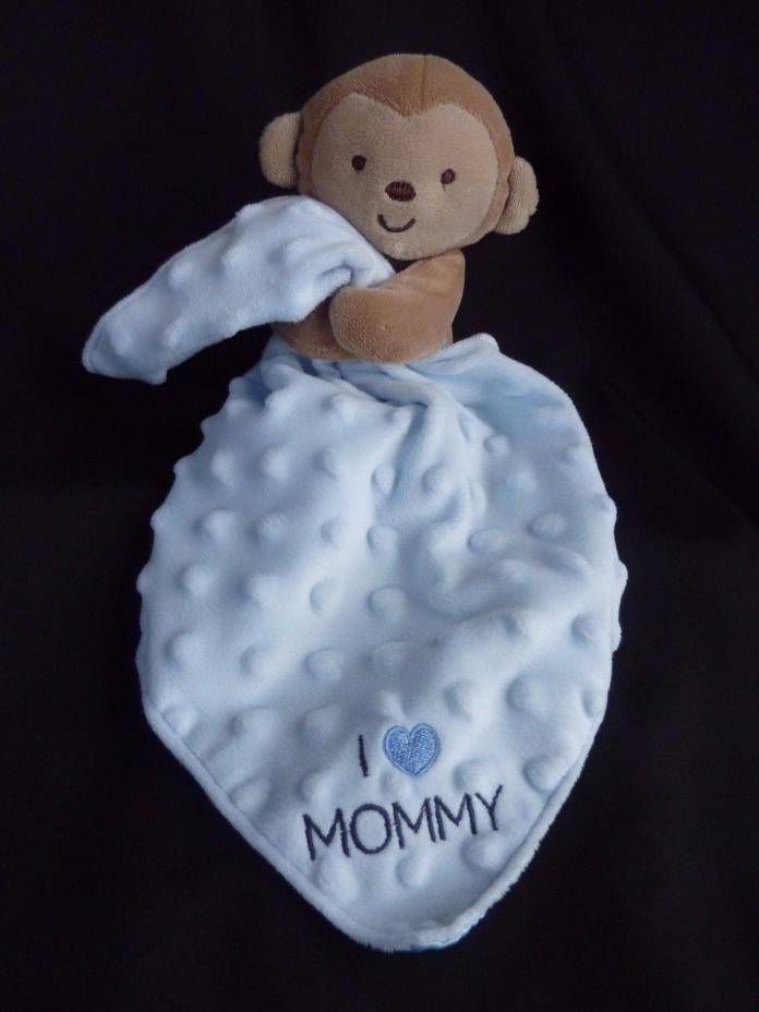 Carters Child Of Mine Blue Monkey Baby Blanket I Love Mommy Minky Dot Lovey