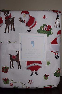 NWT Pottery Barn Kids Santa & Friends Christmas flannel full sheet set