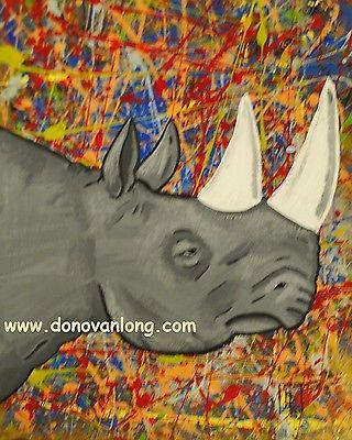 Rhino Head 18x18 Acrylic painting original painting