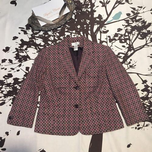 Worthington Blazer Size 10 Purple Career Geometric Jacket M Box Block Button Up