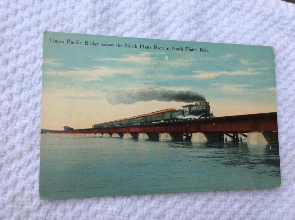 TJ9 Union Pacific Bridge Platte River NB Railroad RR Track Train Card Postcard