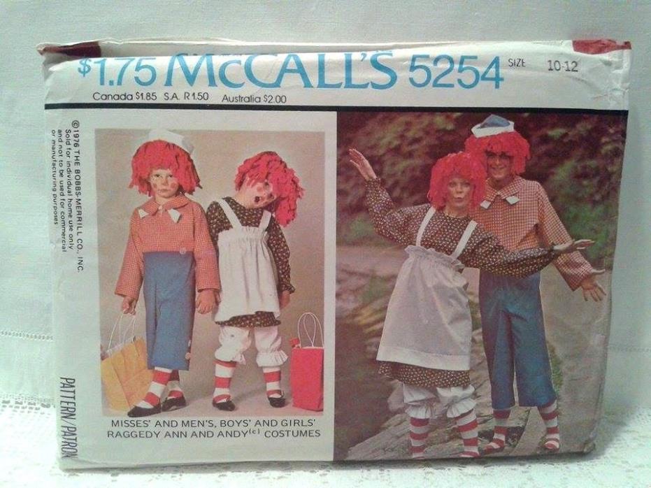 McCall's Uncut Pattern 5254 Girl's/Boy's Sz. 10-12 Raggedy Ann & Andy Costume