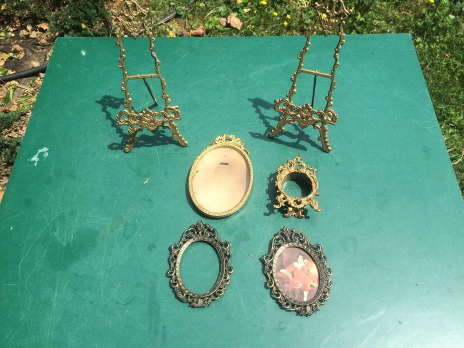 lot Gilt Metal Photo Frames and stand vintage