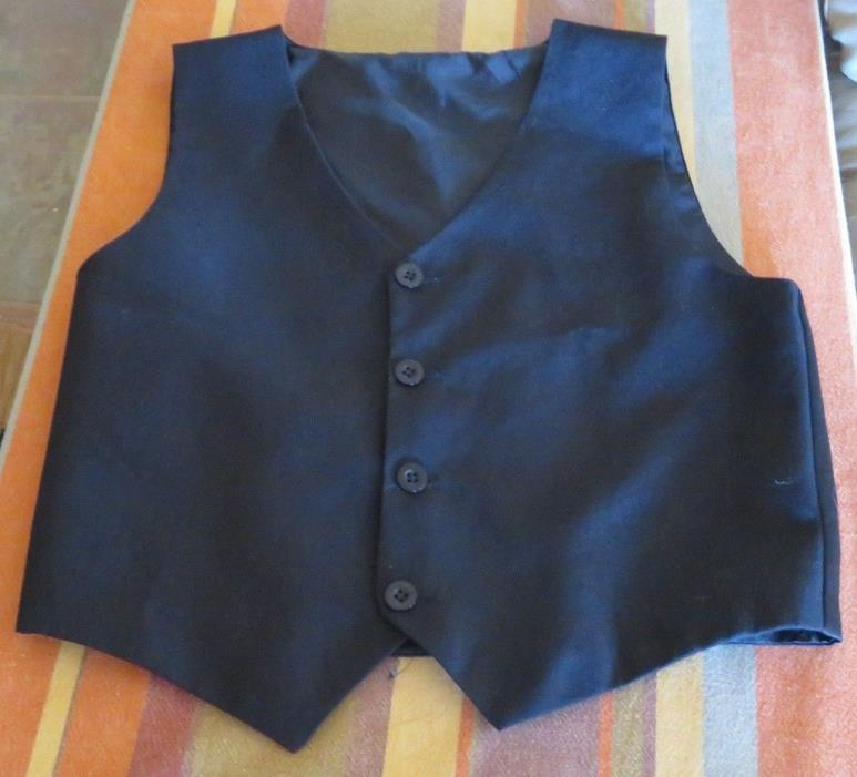 Black vest, boy's size 14,button front,church,Dressy,Weddings,pre-owned