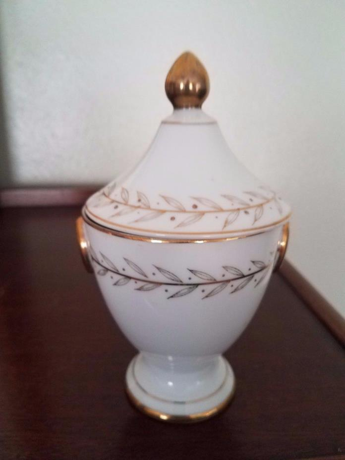 Lefton Golden Laurel Hand Painted Pedestal Candy Dish with Lid