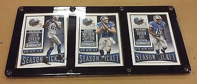 DETROIT LIONS 3 CARD PLAQUE CALVIN JOHNSON, MATTHEW STAFFORD, GOLDEN TATE