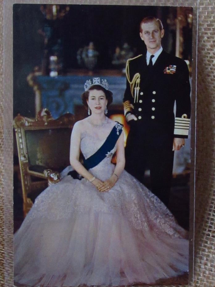 QUEEN ELIZABETH and Prince Philip  REAL PHOTO Postcard 1950s