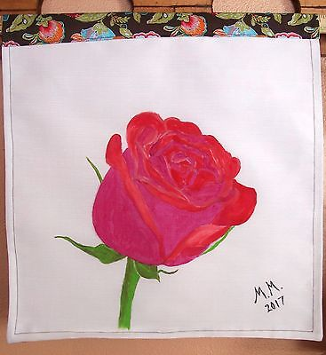 Red rose painting on cloth, Hand painted original, rose wall hanging, wall decor