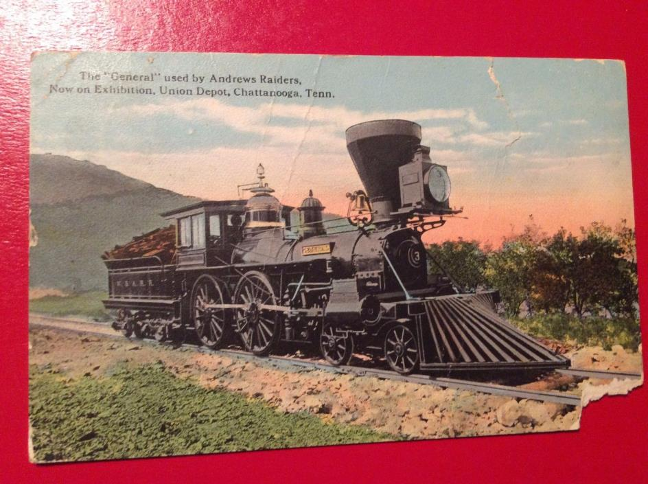 X14 1900's The General Andrews Raiders Union Depot Chattanooga Tenn TN  Postcard