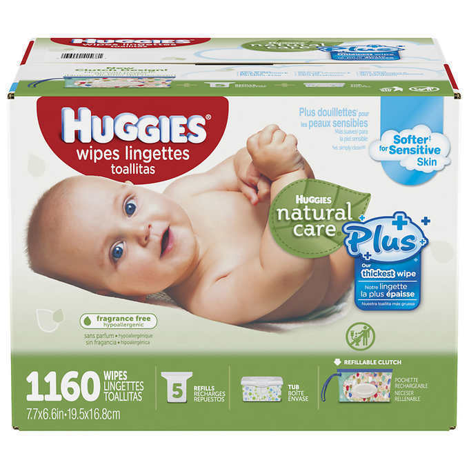 Huggies Natural Care Plus Baby Wipes With Aloe, No Alcohol, 1,160 Count-  Bulk