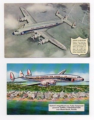 2x Eastern Airlines Constellation Postcards