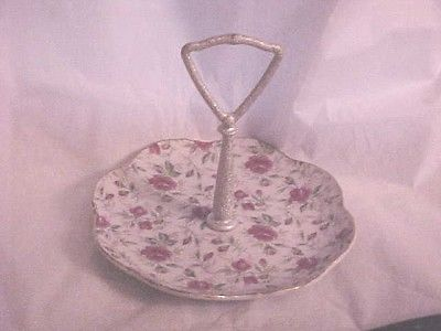CHINTZ DESIGN PINK FLOWERS, LEFTON TIDBIT DISH WITH HANDLE, GOLD T SIGNED NOV28