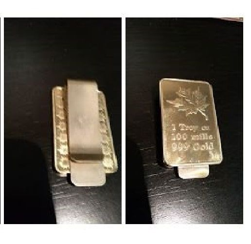 Maple Leaf Bar Money Clip Canadian Wallet 24k Gold Plated Money Holder Canada